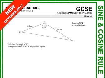 GCSE 9-1 Exam Question Practice (Sine and Cosine Rule)