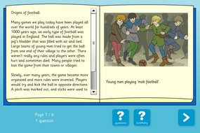 History of Football Interactive Information Book and Questions - Reading Level B - KS1