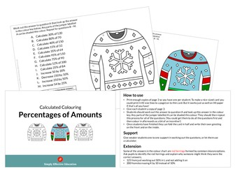 Christmas Calculated Colouring (Percentages of Amounts)