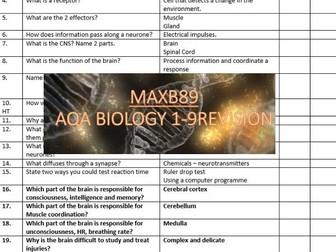 GCSE 9-1 Revision Biology AQA Unit 5 Retrieval Practice Quiz