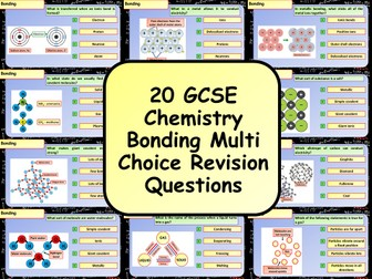 £1 ONLY! KS4 AQA GCSE Chemistry (Science) Bonding Multiple Choice Revision Questions