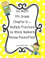 Go Math Ch 8 Multiplying Whole Numbers and Fractions 4th Gr Review with  Answers