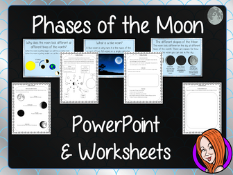 Phases of the Moon  -  PowerPoint and Worksheets STEAM Lesson