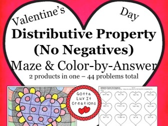Valentine's Day Math Distributive Property No Negatives Maze & Color by Number Activity Set