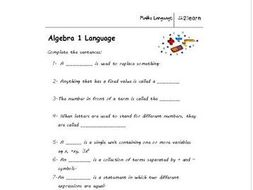 math language  algebra  worksheet for  year old by  math language  algebra  worksheet for  year old