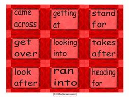 Phrasal Verb Cards 1 4 Pages = 36 Cards