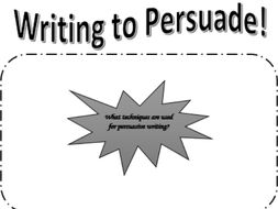 Writing to persuade starter and writing task