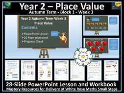 Place Value: Year 2 - Block 1/Week 3 - PowerPoint Lesson & Workbook To Support White Rose Scheme