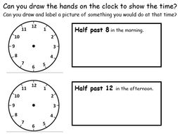 Half Past Worksheets - drawing activities, hands on clocks and writing the time - 2 Worksheets