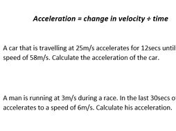 Velocity and Acceleration Questions