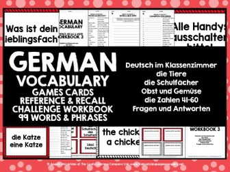GERMAN VOCABULARY CARDS WITH REFERENCE & RECALL WORKBOOK #3