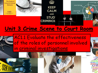 Criminology (NEW SPEC)-Unit 3 Crime Scene to Court Room -AC1.1 Assessment Structure