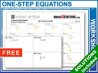 One-step Equations, with Solutions