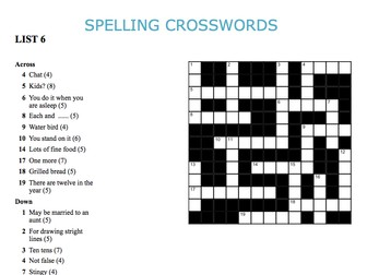 Graded Spelling Crosswords 6-10