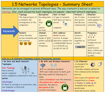 1.5 Network Topologies - Whole Lesson including: Summary Sheet, quick fire questions, question sheet