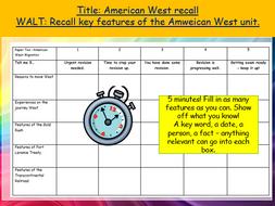 REVISION STARTER ACTIVITIES: Entire unit quizzes American West,  Edexcel