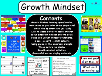 Growth Mindset Resources and Activities