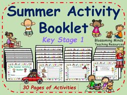 Key Stage 1 End of year Summer Activity Booklet - 30 pages - Colour and Black & White