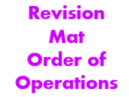 Revision Mat - Order of Operations