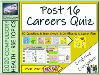 End of term Post 16 Careers and University Quiz