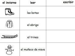 SPANISH WINTER VOCABULARY WORD PACKET