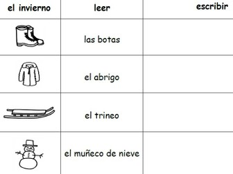 SPANISH WINTER VOCABULARY WORD PACKET