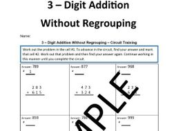 3 – Digit Addition Without Regrouping – Circuit Training