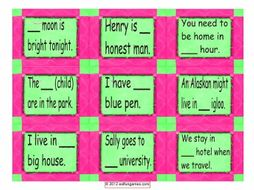 Nouns and Articles Card Game 4 Pages = 36 Cards