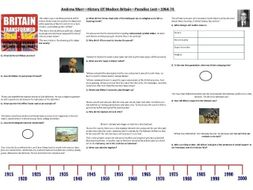 Andrew Marr - History Of Modern Britain - Paradise Lost - 1964-74- Supporting Worksheet