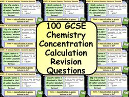 £1 ONLY:  100 GCSE Chemistry (Science) Concentration Calculation Revision Questions