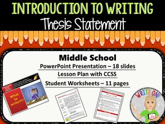 middle school thesis statement worksheet