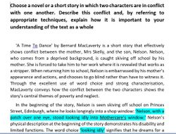 NAT 5 English Critical Essay: A Time To Dance - Bernard MacLaverty (Marked 18/20)