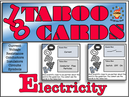 Current Electricity Taboo Cards 1 for KS3