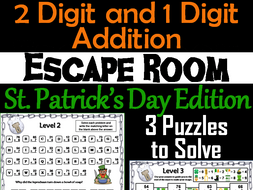 Two Digit and One Digit Addition Game: Escape Room St. Patrick's Day Math