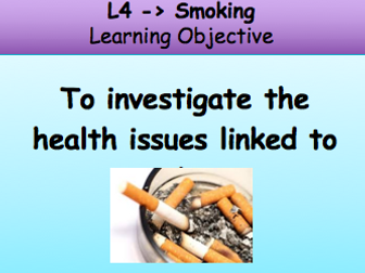 Dangers of smoking PSHE lesson KS3 unhealthy lifestyle choices