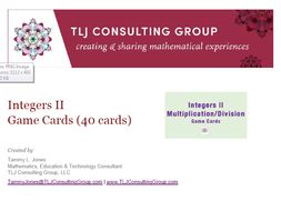 Integers II Game Cards (40 Cards)