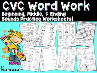 CVC Word Work Bundle,  Beginning, Middle & Ending Sounds Practice,  B&W Worksheets