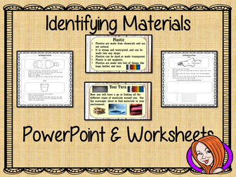 Identifying Materials   -  PowerPoint and Worksheets STEAM Lesson