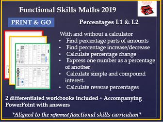 Reformed functional skills maths percentages lesson L1 & L2