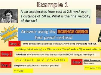 GCSE PHYSICS EQUATIONS OF DOOM!  v2 - u2 = 2ax