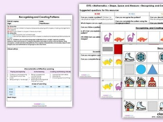 EYFS Recognising and Creating Patterns - Shape, Space and Measure, Resources & Observation Pack