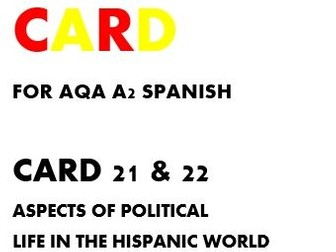 SPEAKING CARDS 21 & 22 FOR AQA A-LEVEL SPANISH (new specification).
