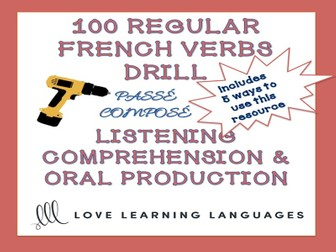 GCSE FRENCH: 100 French regular verbs passé composé drill for conjugation practice