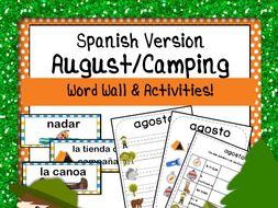 August / Camping Word Wall Cards AND Activities! Spanish version