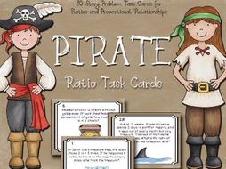 Ratio Task Cards - Ratios and Proportional Relationships - Pirate Themed Ratio Task Cards - Ratios