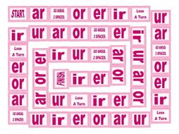 Phonics R Controlled Vowels ar-or-er-ir-ur Text Board Game
