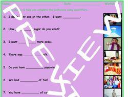 Quantifiers 3 Photo Worksheet Set