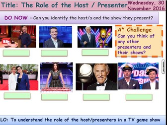 Media Representation 3 host/presenters GCSE Media Studies UNIT 1 Media Exams TV Game Shows
