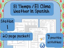 Weather, El Tiempo, El Clima: Spanish Weather Vocabulary--6 Practice Activities!
