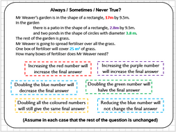 Compound Area Reasoning Tasks